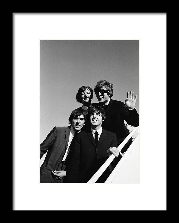 People Framed Print featuring the photograph Beatles Arriving At Los Angeles Airport by Bill Ray