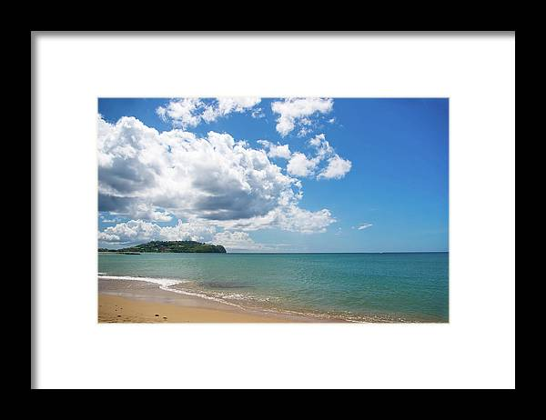 Water's Edge Framed Print featuring the photograph Beautiful Beach And Dramatic Clouds by Jaminwell