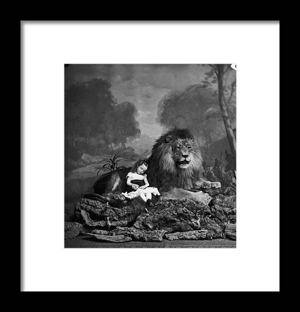 Stuffed Framed Print featuring the photograph Beauty And The Beast by London Stereoscopic Company