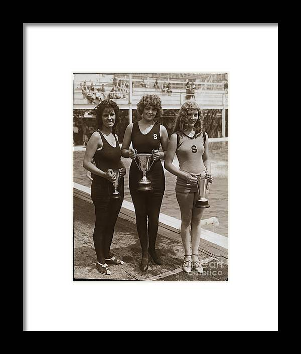 People Framed Print featuring the photograph Beauty Contest Winners At Brighton Beach by Bettmann