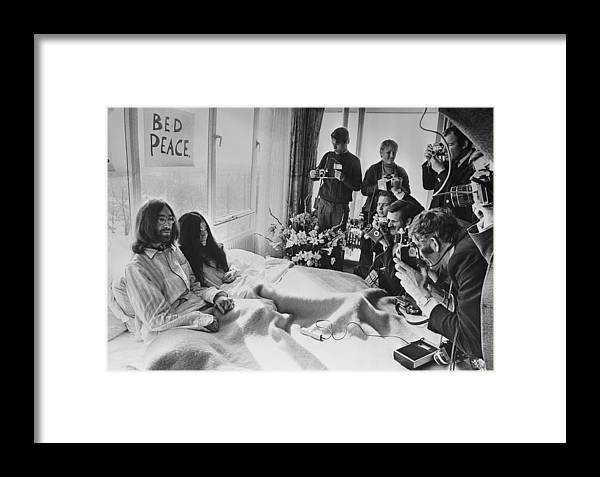 Rock Music Framed Print featuring the photograph Bed Peace by Central Press