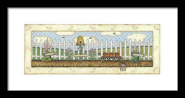 A White Picket Fence With A Bee Hive And Holly Hocks In Front Framed Print featuring the painting Beehive Fence by Robin Betterley