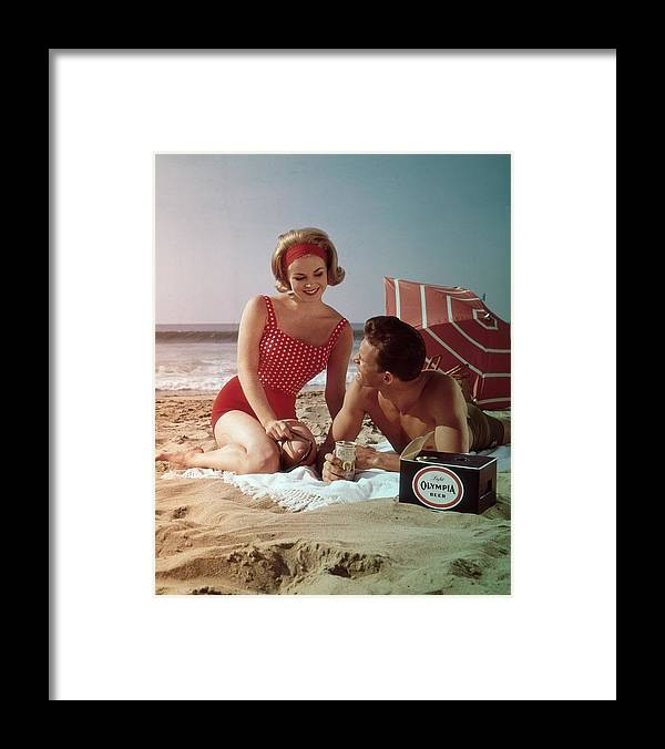 Alcohol Framed Print featuring the photograph Beer On The Beach by Tom Kelley Archive