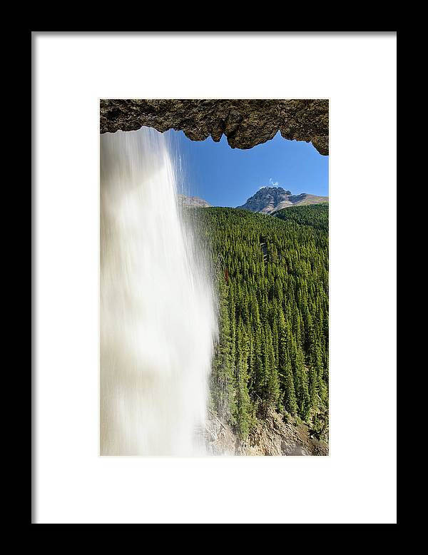 Behind Panther Falls - Vertical Framed Print featuring the photograph Behind Panther Falls - Vertical by Michael Blanchette Photography
