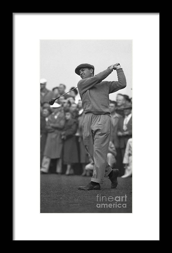 Playoffs Framed Print featuring the photograph Ben Hogan Swinging Golf Club by Bettmann