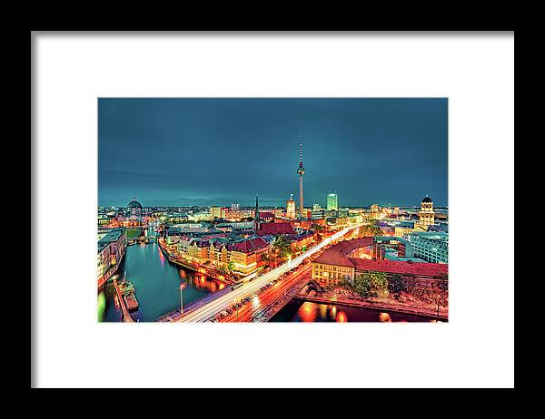 Alexanderplatz Framed Print featuring the photograph Berlin City At Night by Matthias Haker Photography