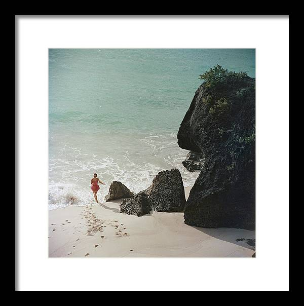 People Framed Print featuring the photograph Bermuda Beach by Slim Aarons