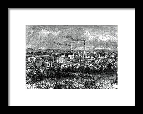 Engraving Framed Print featuring the drawing Bessbrook Mills And Village, County by Print Collector