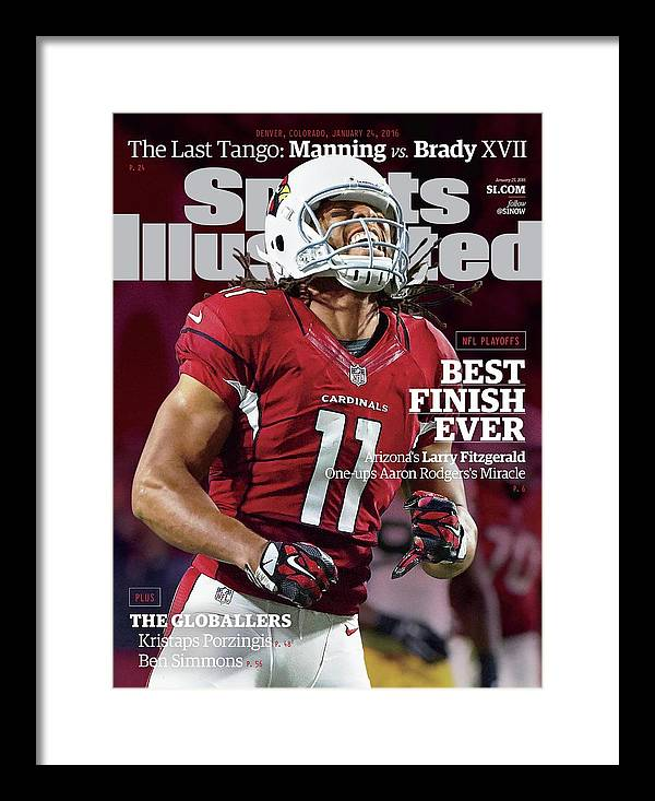 Larry Fitzgerald Framed Print featuring the photograph Best Finish Ever Arizonas Larry Fitzgerald One-ups Aaron Sports Illustrated Cover by Sports Illustrated