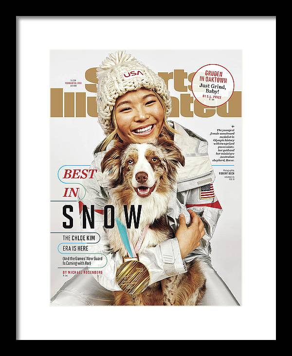Magazine Cover Framed Print featuring the photograph Best In Snow The Chloe Kim Era Is Here Sports Illustrated Cover by Sports Illustrated