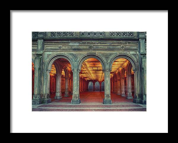 Arch Framed Print featuring the photograph Bethesda Terrace In Central Park - Hdr by Rontech2000