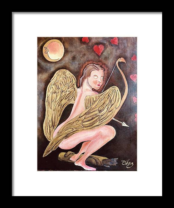 Cupid Framed Print featuring the painting Beware of The Cupid by Ron Tango Jr