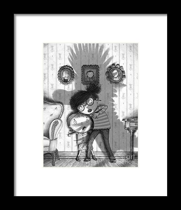 Shadow Framed Print featuring the digital art Beware Of The Snarkle Beast by Michael Ciccotello