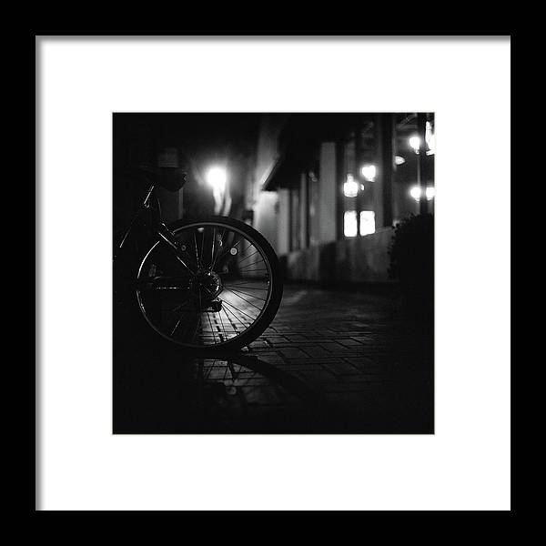 Shadow Framed Print featuring the photograph Bicycle In Dark Street by Satoshi Otani