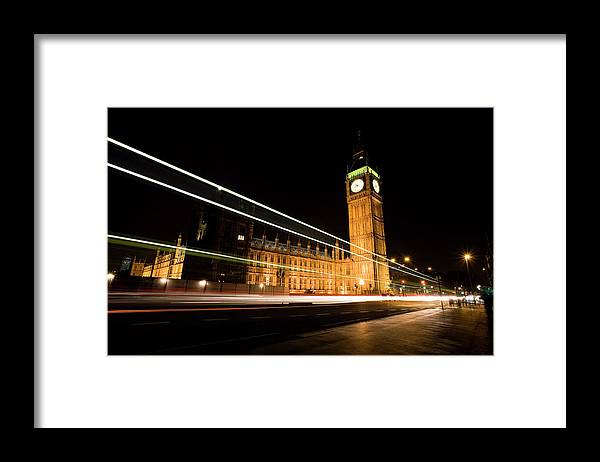 Clock Tower Framed Print featuring the photograph Big Ben At Night by Track5