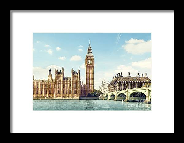 Big Framed Print featuring the photograph Big Ben In Sunny Day, London by Esb Professional