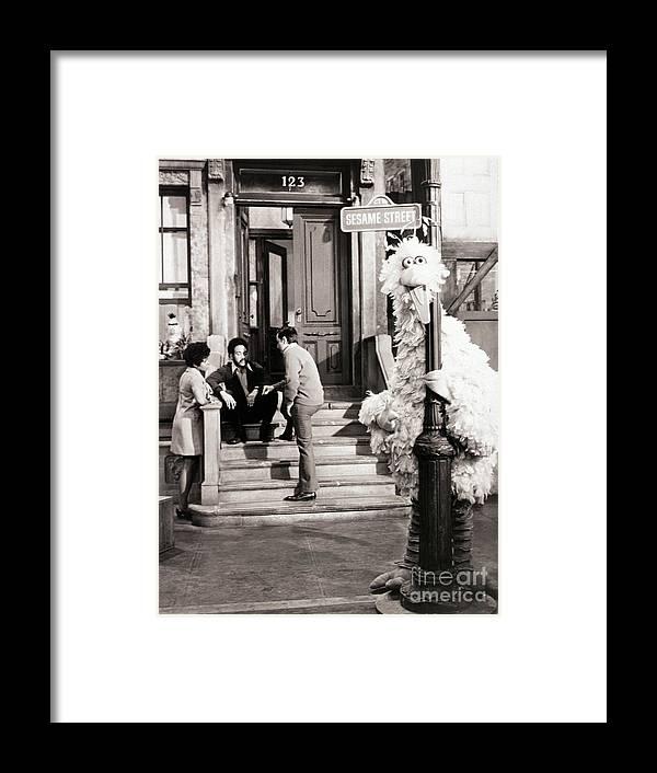 Education Framed Print featuring the photograph Big Bird And Original Cast Of Sesame by Bettmann