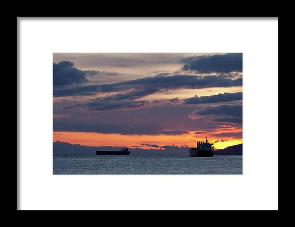Scenics Framed Print featuring the photograph Big Boat Silhouettes by Visualcommunications