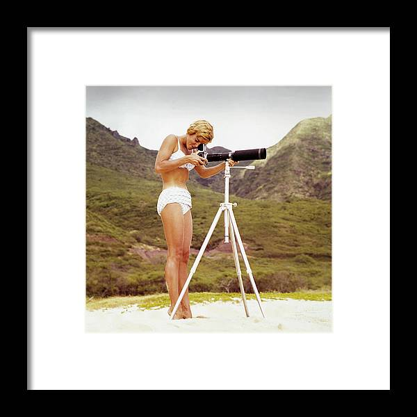 People Framed Print featuring the photograph Bikini Girl And Camera by Tom Kelley Archive