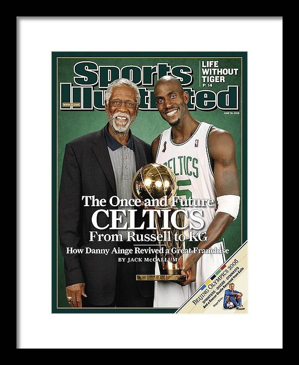 Magazine Cover Framed Print featuring the photograph Bill Russell And Boston Celtics Kevin Garnett, 2008 Nba Sports Illustrated Cover by Sports Illustrated
