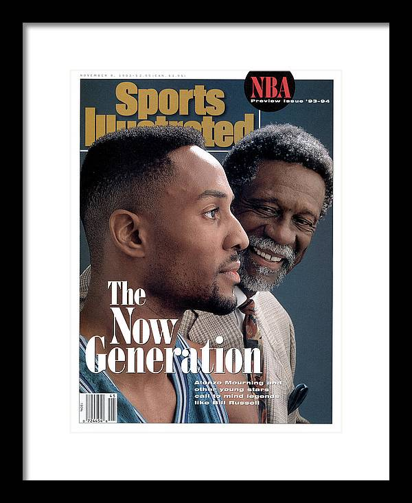 Magazine Cover Framed Print featuring the photograph Bill Russell And Charlotte Hornets Alonzo Mourning, 1993 Sports Illustrated Cover by Sports Illustrated