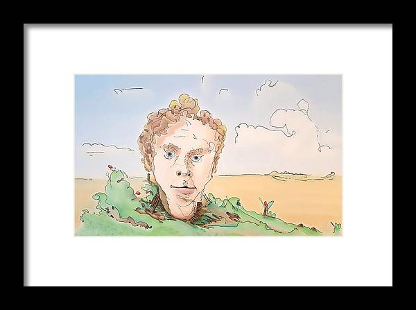 Portrait Framed Print featuring the painting Billboard Man by Dave Martsolf