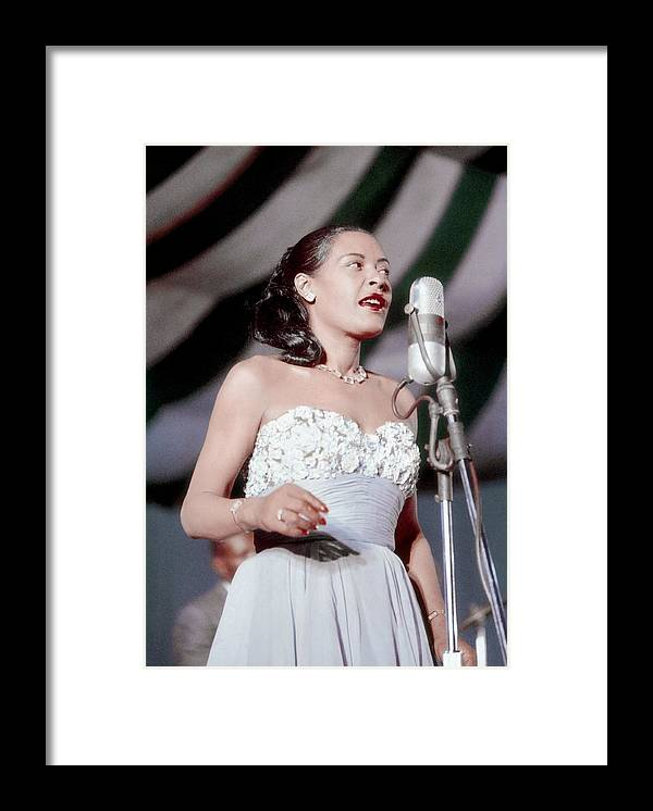 Billie Holiday Framed Print featuring the photograph Billie Holiday At Newport Jazz by Bill Spilka