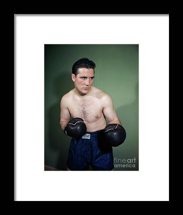 People Framed Print featuring the photograph Billy Conn Posing In Boxing Attire by Bettmann