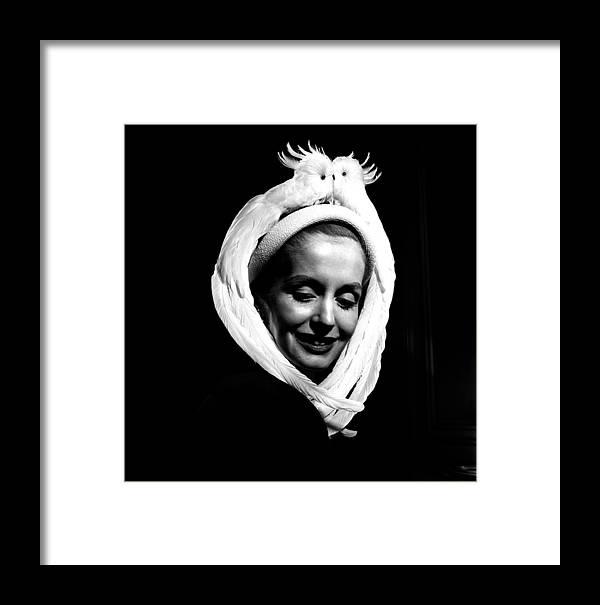 Fashion Model Framed Print featuring the photograph Bird Hat For Ben Bess Hats by Robert Natkin