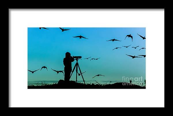 Beautiful Framed Print featuring the photograph Bird Watcher Silhouette by Erkki Alvenmod