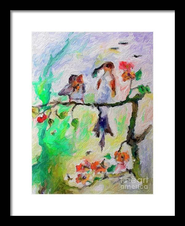Birds Framed Print featuring the digital art Birds Summer Impressions by Ginette Callaway