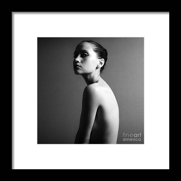 Shoulders Framed Print featuring the photograph Black & White Portrait Of Nude Elegant by Mayer George