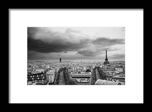 Black Color Framed Print featuring the photograph Black And White Aerial View Of An by Stockbyte
