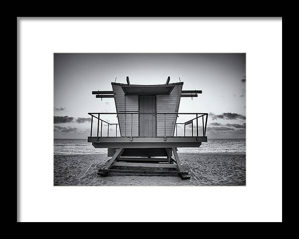 Outdoors Framed Print featuring the photograph Black And White Lifeguard Stand In by Boogich
