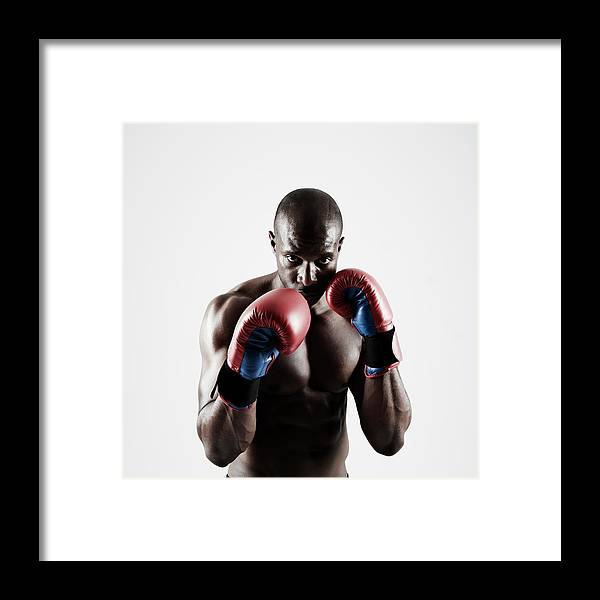 People Framed Print featuring the photograph Black Male Boxer In Boxing Stance by Mike Harrington