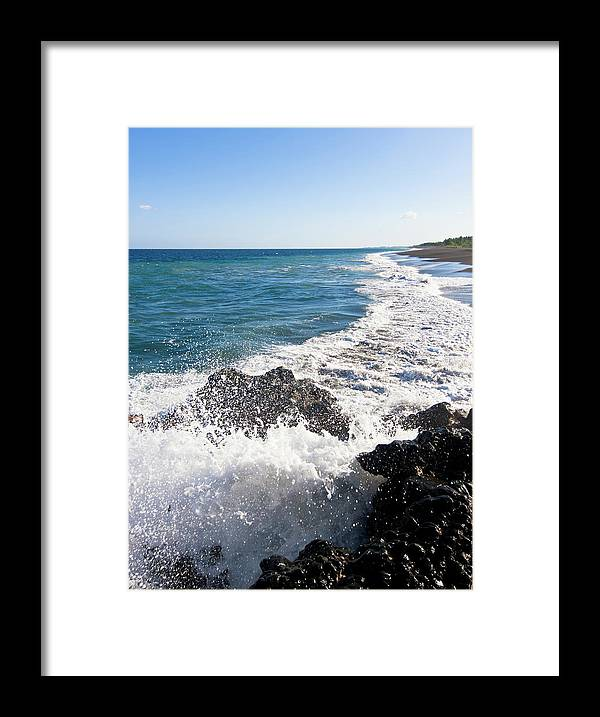 Long Framed Print featuring the photograph Black Sand Beach by Davorlovincic