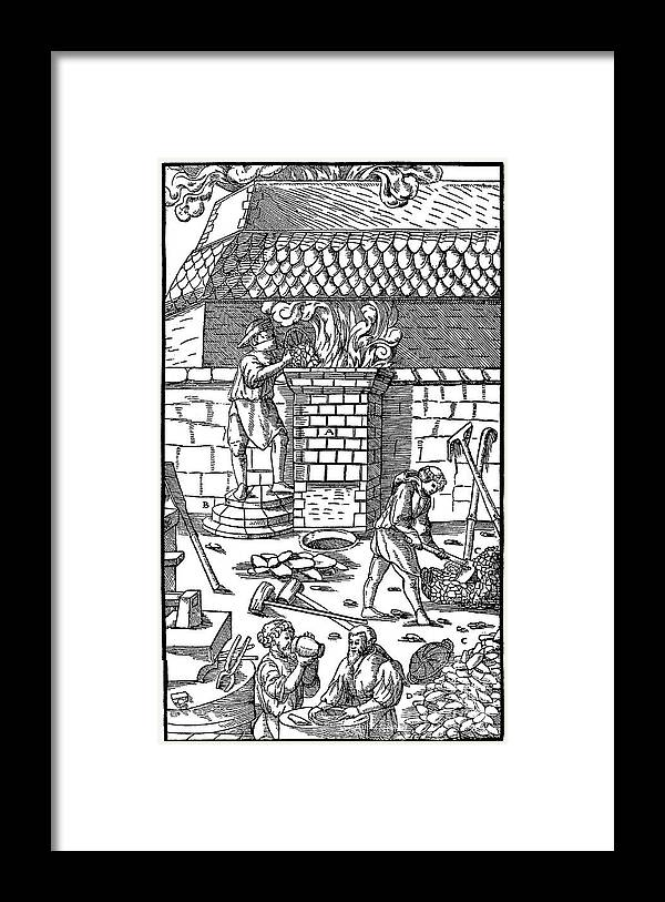 Working Framed Print featuring the drawing Blast Furnace For Smelting Iron Ore by Print Collector