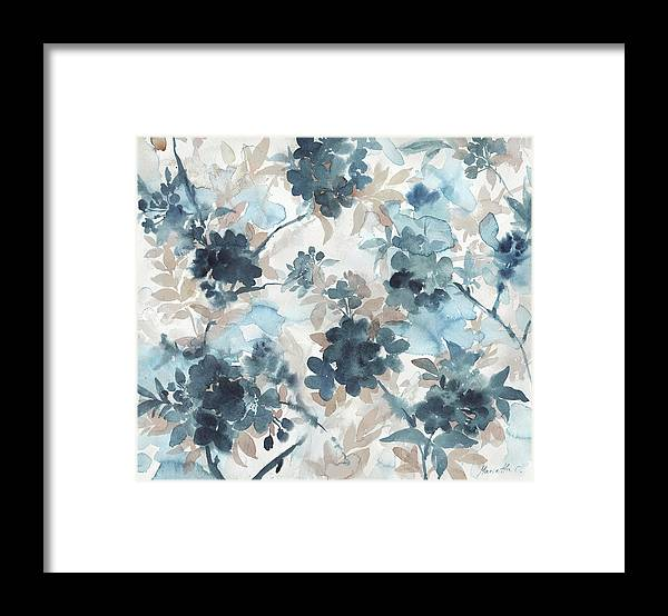 Blue Blossoms Framed Print featuring the mixed media Blue Blossoms by Marietta Cohen Art And Design