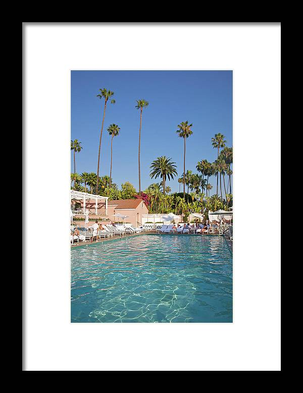 Tranquility Framed Print featuring the photograph Blue-bottomed Pool Beneath Palm Trees by Barry Winiker
