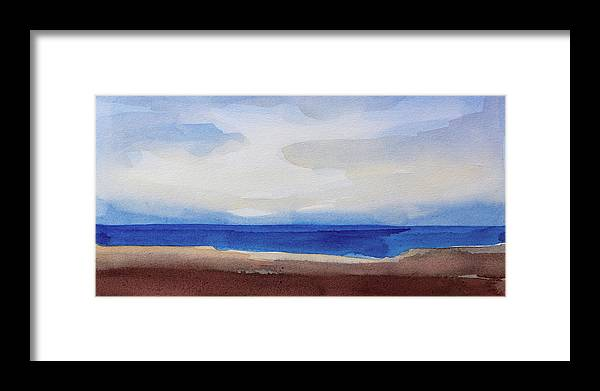 Seascape Panoramic Framed Print featuring the painting Blue Horizon by Lutz Baar