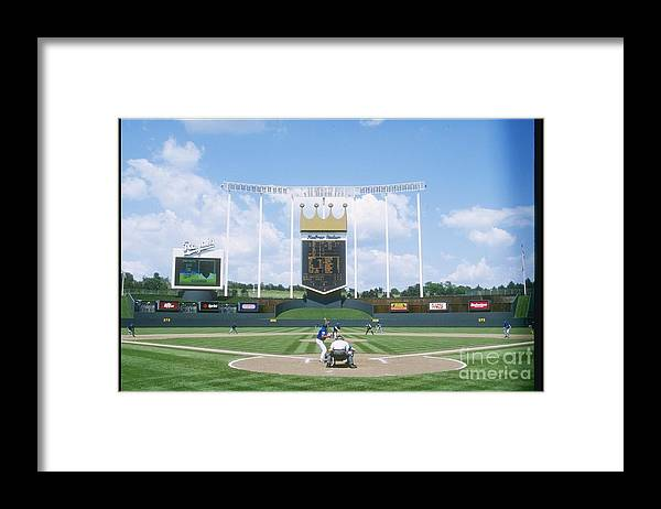 American League Baseball Framed Print featuring the photograph Blue Jays V Royals by Stephen Dunn