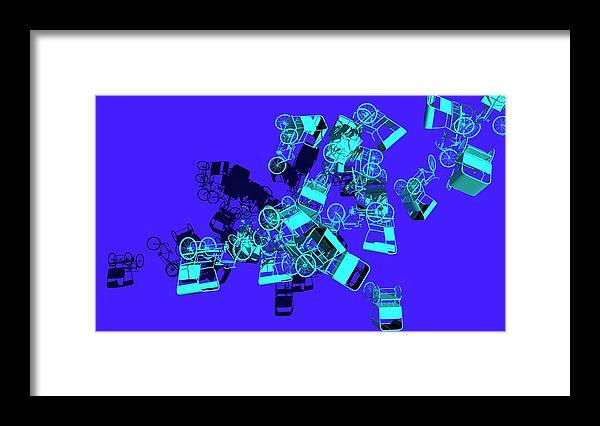Rickshaw Framed Print featuring the digital art Blue Rickshaws Flying by Heike Remy