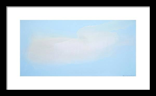 Abstract Framed Print featuring the painting Blue Skies Ahead by Claire Desjardins
