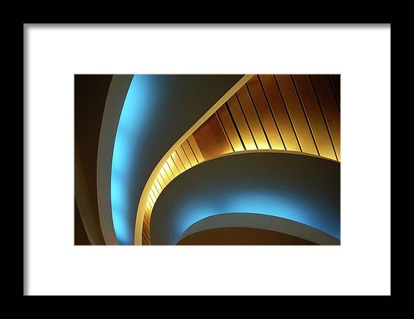 Curve Framed Print featuring the photograph Blue Swirl by Copyright Ralph Grunewald