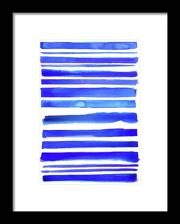 Art Framed Print featuring the digital art Blue Textured Stripes by Johnwoodcock