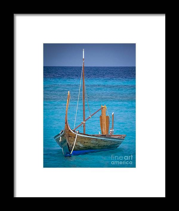 Boat Framed Print featuring the digital art Boat In The Blue by Eric Nagel