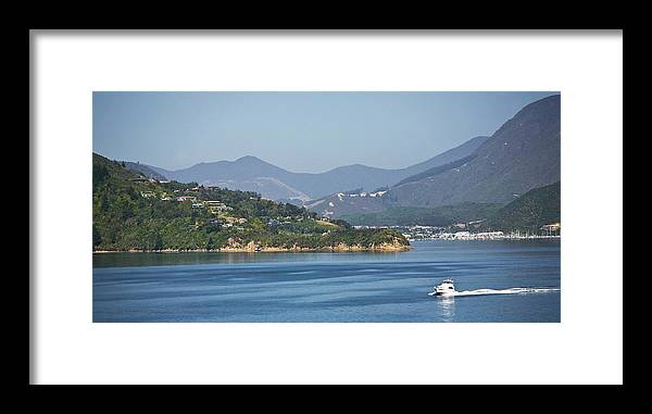 Panoramic Framed Print featuring the photograph Boat On Water, Queen Charlotte Sound by Design Pics / John Doornkamp