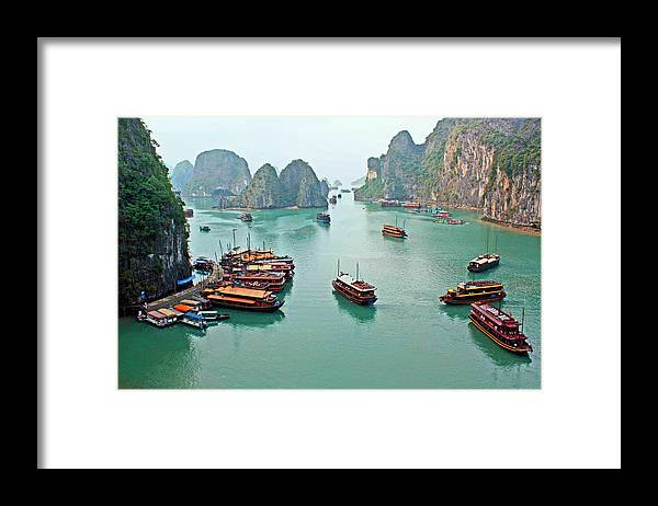 Tranquility Framed Print featuring the photograph Boats Of Halong Bay by Joe Regan