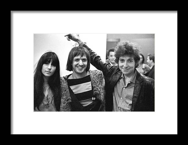 Three Quarter Length Framed Print featuring the photograph Bob Dylan With Sonny & Cher by Michael Ochs Archives