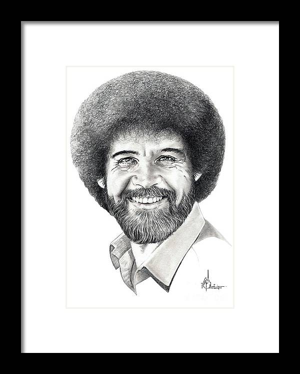Pencil Framed Print featuring the drawing Bob Ross by Murphy Elliott
